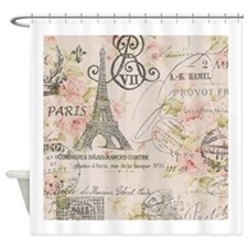 modern vintage floral paris fashion art Shower Cur