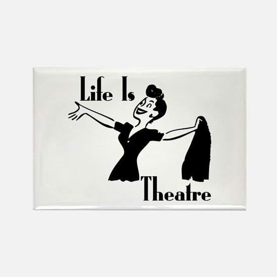 Life Is Theatre Retro Theater Rectangle Magnet