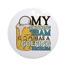 Golf Drinking Team Ornament (Round)