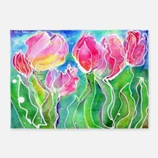 Tulips! Colorful, floral art! 5'x7'Area Rug