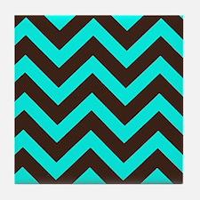 Brown and Light Blue Chevron Tile Coaster