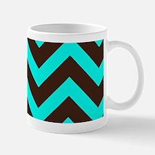 Brown and Light Blue Chevron Mugs