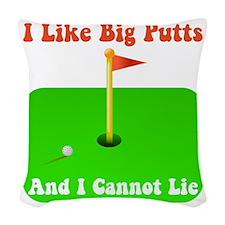 Big Putts Orange.png Woven Throw Pillow