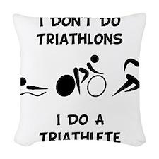 Do Triathlete Black.png Woven Throw Pillow