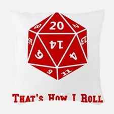 20 Sided Roll Red.png Woven Throw Pillow