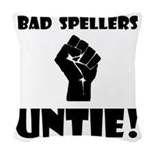 Bad Spellers Black.png Woven Throw Pillow