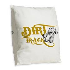 Dirt Track Sprint Car Burlap Throw Pillow