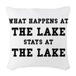 Happens At Lake Woven Throw Pillow