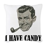 I Have Candy Black.png Woven Throw Pillow