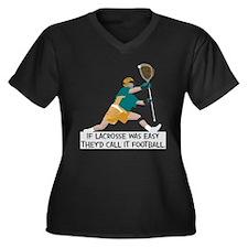If Lacrosse Women's Plus Size V-Neck Dark T-Shirt