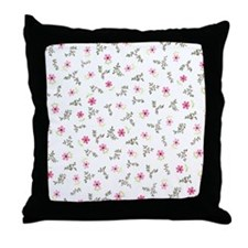 Pink Daisy Print Throw Pillow