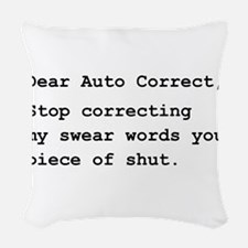 Auto Correct Swear Black.png Woven Throw Pillow
