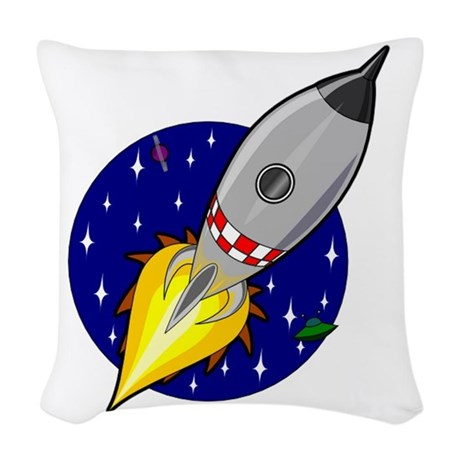 Space Rocket Blue.png Woven Throw Pillow