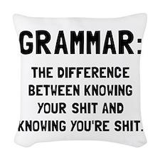 Grammar Shit Woven Throw Pillow