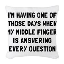 Middle Finger Woven Throw Pillow
