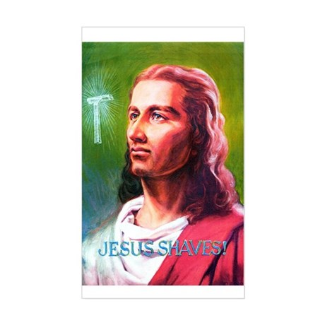 Jesus Shaves! Rectangle Sticker