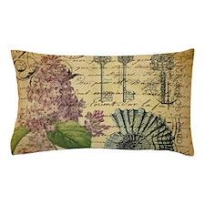 paris lilac vintage keys seashells beach Pillow Ca