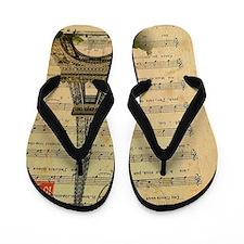vintage paris eiffel tower music notes Flip Flops