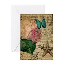 paris hydrangea butterfly seashells beach Greeting