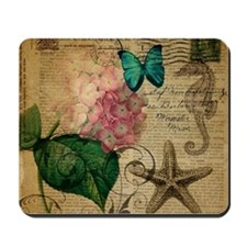 paris hydrangea butterfly seashells beach Mousepad