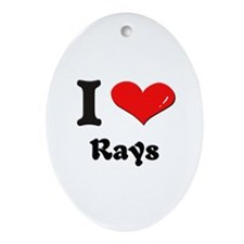 I love rays  Oval Ornament