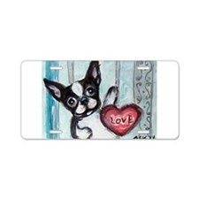 Boston Terrier Heart Aluminum License Plate