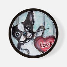 Boston Terrier Heart Wall Clock