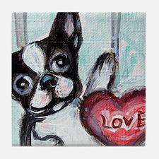 Boston Terrier Heart Tile Coaster