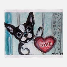 Boston Terrier Heart Throw Blanket