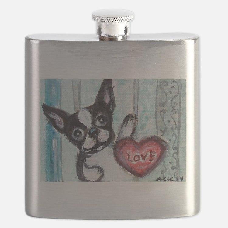 Boston Terrier Heart Flask