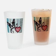 Boston Terrier Heart Drinking Glass