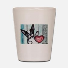 Boston Terrier Heart Shot Glass