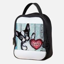 Boston Terrier Heart Neoprene Lunch Bag