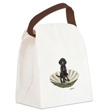 Lab pup in a clam shell Canvas Lunch Bag