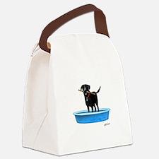 Black Labrador Retriever in kiddie pool Canvas Lun