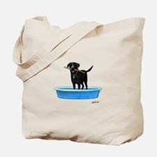 Black Labrador Retriever in kiddie pool Tote Bag