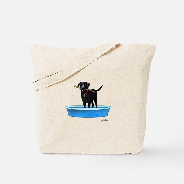 Black Labrador Retriever in kiddie pool Tote Bag