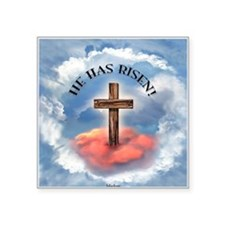 "He Has Risen Rugged Cross W Square Sticker 3"" x 3"""