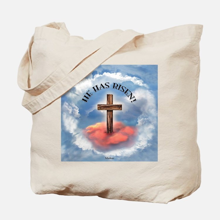 He Has Risen Rugged Cross With Clouds Tote Bag