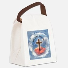 He Has Risen Rugged Cross With Cl Canvas Lunch Bag