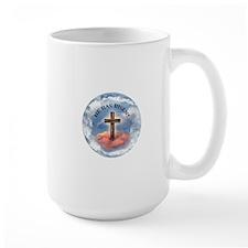 He Has Risen Rugged Cross With Clouds Mug