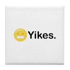 Yikes Emoticon Tile Coaster
