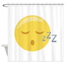 Sleepy Face Emoticon Shower Curtain