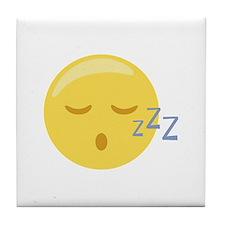 Sleepy Face Emoticon Tile Coaster