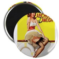 Cute Anchors aweigh pin up Magnet