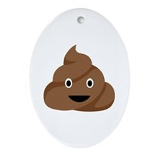Poop Emoticon Ornament (Oval)
