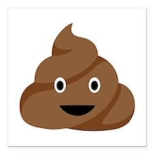 """Poop Emoticon Square Car Magnet 3"""" x 3"""""""