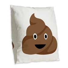Poop Emoticon Burlap Throw Pillow