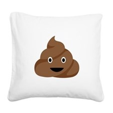 Poop Emoticon Square Canvas Pillow