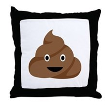 Poop Emoticon Throw Pillow